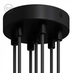 Zwarte plafondkap, 7-gaats, 120 mm. met cylindrische trekontlaster van zwart metaal.