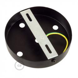 Metalen plafondkap geschikt voor 5 lampen - zwart